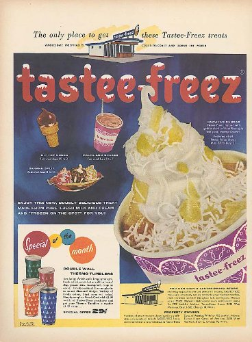 Advertising Tumbler - Double-Wall Thermo Tumblers offer Tastee-Freez ad 1956