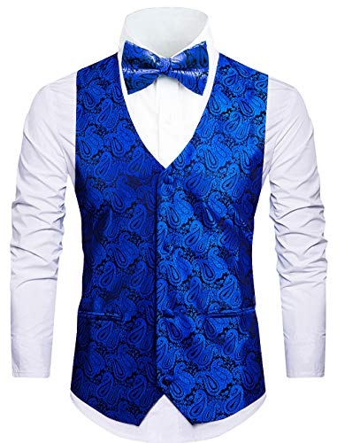 Cyparissus 3pc Paisley Vest Men Neck Tie Bow Tie Set Suit -