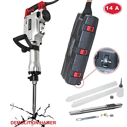 Lion Tools LT5104 Toolman Electric Demolition Jack Hammer Chisel For Heavy Duty Concrete Breaker 14A with Point, Flat Shovel/Chisels bits works with Dewalt, Makita, HILTI, Hitachi, Bosch Accessories