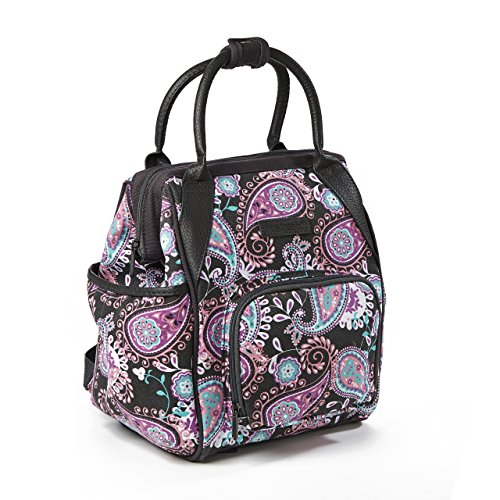 Fit & Fresh Piper Small Backpack Lunch Bag, Insulated Daypack for Travel, Hiking, Commuting, Pink Aqua Paisley (Pink Paisley Diaper Bag)