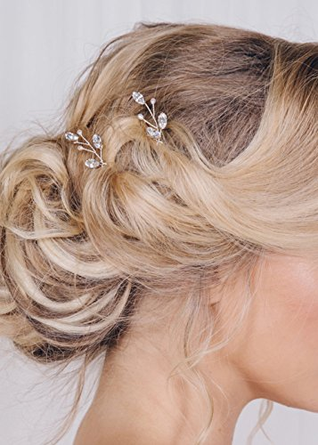 FXmimior 3 PCS Bridal Women Vintage Wedding Party Hair Pins Crystal Hair Accessories (silver)