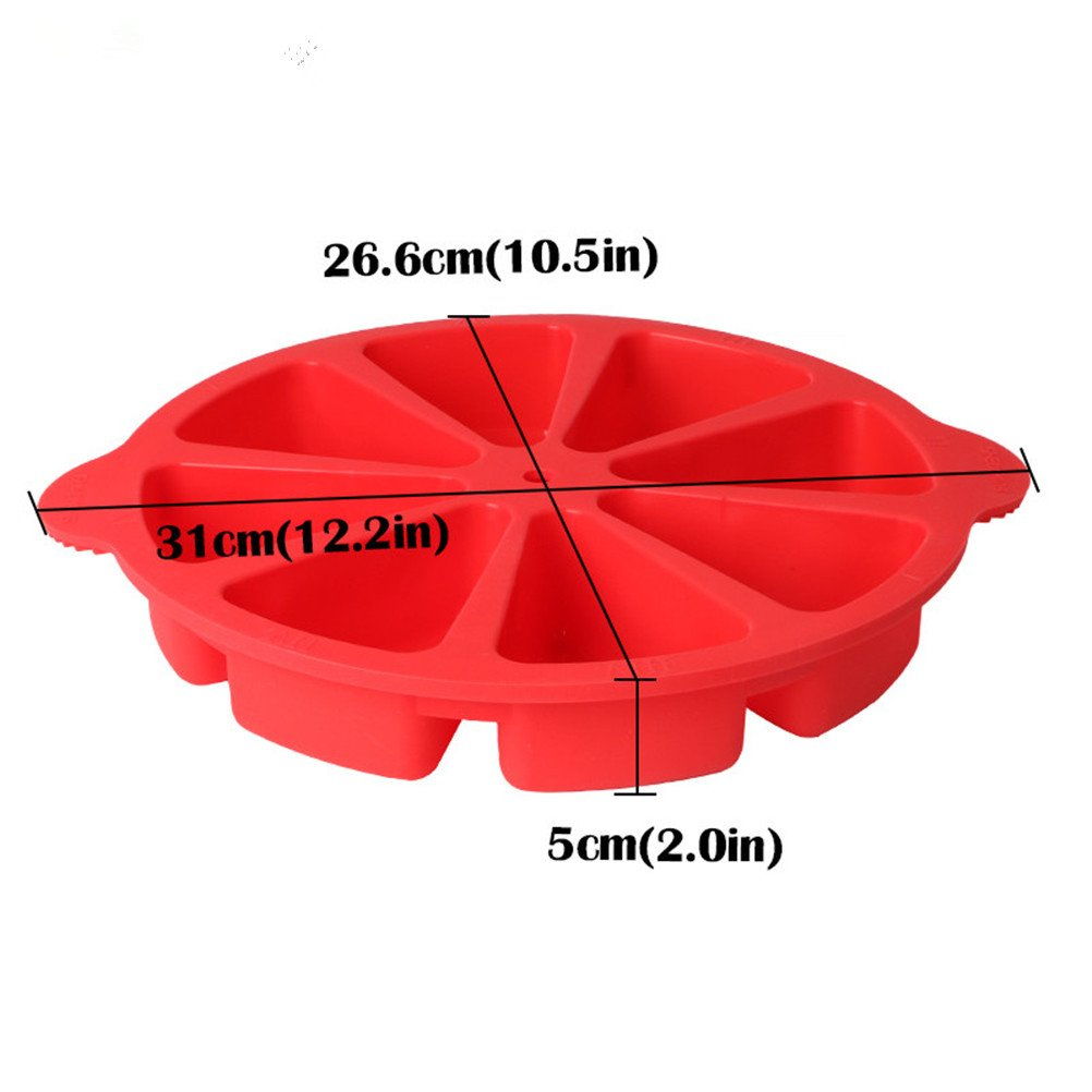 Baking Molds Triangle Cavity Silicone 8 Red Silicone Portion Cake Mold Soap Mould Pizza Slices Pan by SHEbaking (Image #6)