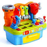 Premium Musical Learning Workbench Children's Toy By DanPanda – Fun & Educational Construction Pretend PlaySet For Kids, 7 Different Tools, RealSound Effects & LED Lights, Helps Develop Basic Skills