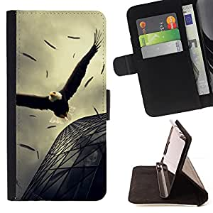 DEVIL CASE - FOR Sony Xperia Z2 D6502 - Eagle Soaring Flight Architecture Powerful - Style PU Leather Case Wallet Flip Stand Flap Closure Cover