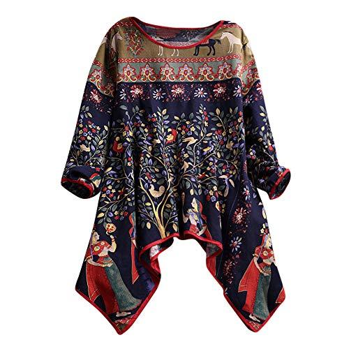 ❤ Mujeres de Gran tamaño de Manga Larga de algodón y Lino, señoras de Manga Larga de impresión Blusa Suelta Pullover Tops Camisa Absolute: Amazon.es: ...
