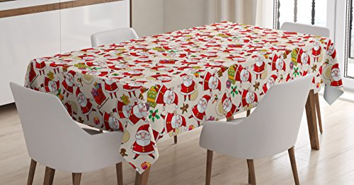 Ambesonne Christmas Tablecloth, Cartoon Design Santa Claus Bringing Surprise Boxes Mistletoe Gingerbread Print, Dining Room Kitchen Rectangular Table Cover, 52 W X 70 L Inches, Multicolor