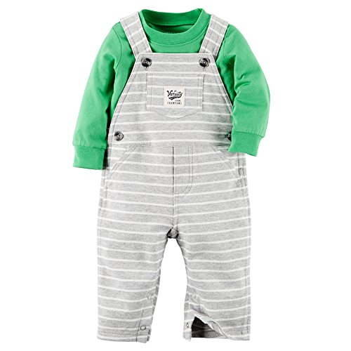 Carters Baby Boy 2-piece Cotton Bib Overall Set (Newborn, Green) - Newborn Boys 2 Piece Overall