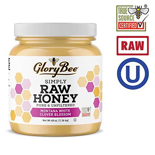 GloryBee, Raw Organic Light & Mild Honey, 100% US Grade A, Non-GMO, USDA Organic, 48 Ounce