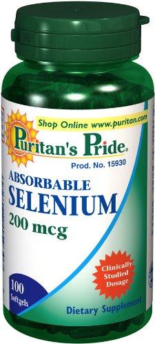 Puritan Pride 2 Bouteilles de résorbables Sélénium 200 mcg 200 mcg--100-S