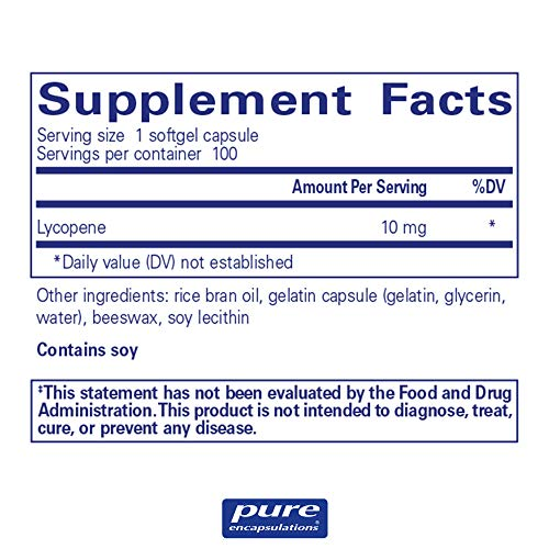 Pure Encapsulations - Lycopene 10 mg - Dietary Supplement for Prostate, Cellular and Macular Support* - 100 Softgel Capsules by Pure Encapsulations (Image #1)