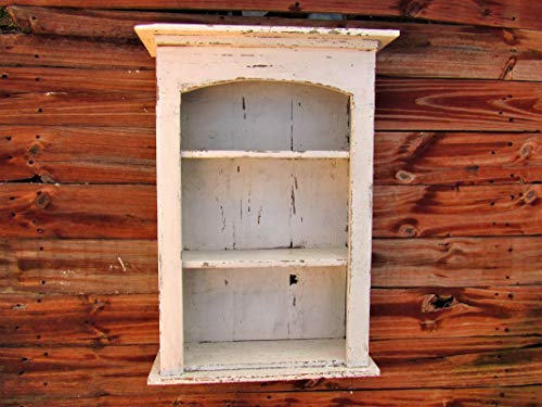 Shabby Chic Style White Wall Spice Shelf, Distressed, Book Shelf, Distressed, French Country, Shadow Box, Display Case, CEDAR, HANDMADE