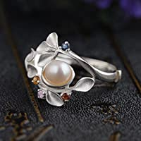 Elegant Pearl Beauty 925 Silver Women Jewelry Engagement Wedding Ring Size 6-10 (10)