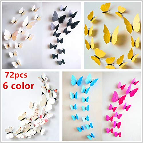 72 x PCS 3D Colorful Butterfly Wall Stickers DIY Art Decor Crafts for Nursery Classroom Offices Kids Girl Boy Baby Bedroom Bathroom Living Room Magnets and Glue Sticker Set (72pcs 6 Color)