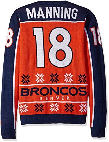 Peyton Manning Gear - Denver Broncos Manning P. #18 2015 Player Ugly Sweater Small