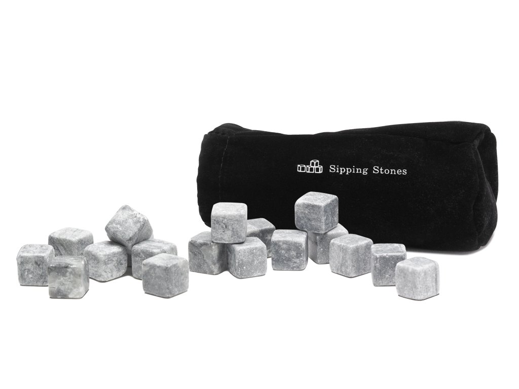 Whiskey Stones Gift Set - Set of 18 Grey Beverage Chilling Rocks in Gift Box with Velvet Freeze Bag - 100% Pure Soapstone Reusable Liquor and Wine Drinking Cubes - Great Valentine's Day Gift for Him Sipping Stones 18-Piece