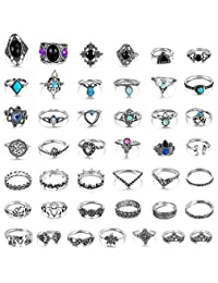 Adramata 43 Pcs Vintage Knuckle Rings Women Girls Stackable Midi Finger Ring Set