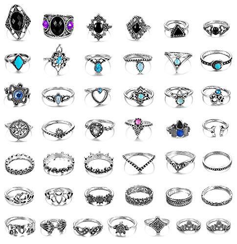 (Adramata 43 Pcs Vintage Knuckle Rings Women Girls Stackable Midi Finger Ring Set Bohemian Jewelry)