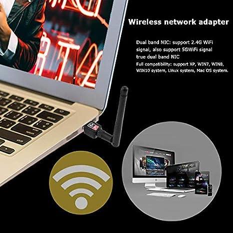 PrinceShop 600Mbps Wireless USB Adapter Network Card Wifi Receiver 2.4//5G Dual Band Antennas for Windows XP//Vista//7//8//10//Mac OS