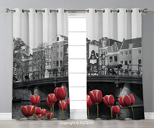 (Grommet Blackout Window Curtains Drapes [ Black and White Decorations,Monochrome Photo of Amsterdam Canal with Red Tulips Houses Decorative,Black White Red ] for Living Room Bedroom Dorm Room Classroo)