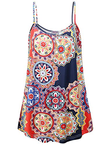 Misswor Loose Camisoles for Women, Ladies Floral Tops for Women Summer Tunic Tops Sleeveless Shirts Curved Hemline Clothes Baggy Cozy Cami Dress Lightweight Tank Church Wear Floral Red-Blue XXL