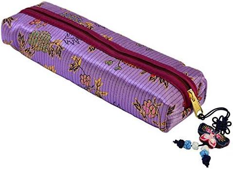 Violeta tela estuche para lápices con cierre diseño de ...