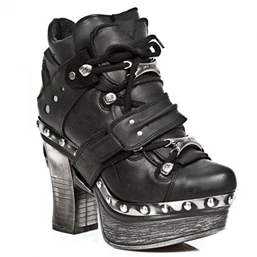 New Rock Laarzen M.z011-c7 Gothic Hardrock Punk Damen Highheel Stiefelette Schwarz