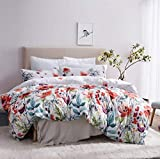 Leadtimes Blue Floral Duvet Cover King Boho Bedding Set Soft Lightweight Duvet Comforter Cover Set