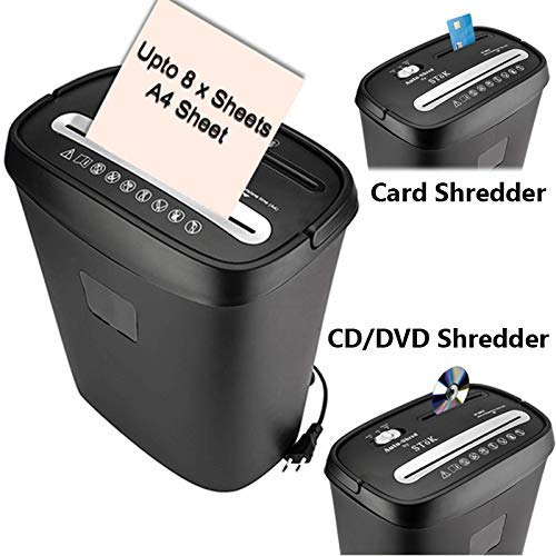 8. SToK 8 Sheet Cross Cut Paper Shredder with CD/DVD and Credit/Debit Card Shredder(Black) 30CC Shredder