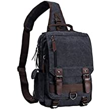 Mygreen Canvas Leather Crossbody Messenger Bag One Strap Sling Travel Hiking Chest Bag
