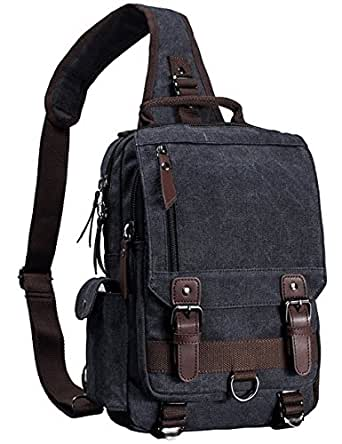 Mygreen Canvas Leather Crossbody Messenger Bag One Strap Sling Travel Hiking Chest Bag
