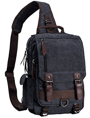 Mygreen Canvas Leather Crossbody Messenger Bag One Strap Sling Travel Hiking Chest ()
