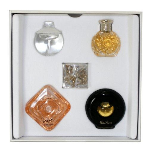 Various Designers Precious Collection for Women-5 Pc Mini Gift Set 7ml Noa EDT Splash, 4ml Safari EDP Splash, 7.5ml Tresor EDP Splash, 4.8ml Paloma Picasso EDP Splash, Golden Charm Bracelet 03700257536808