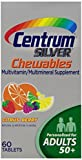 Centrum Silver Multivitamin/Multimineral Supplement Chewable Tablets for Adults 50+, Citrus Berry, 60 Count Bottles (Pack of 3) by Centrum