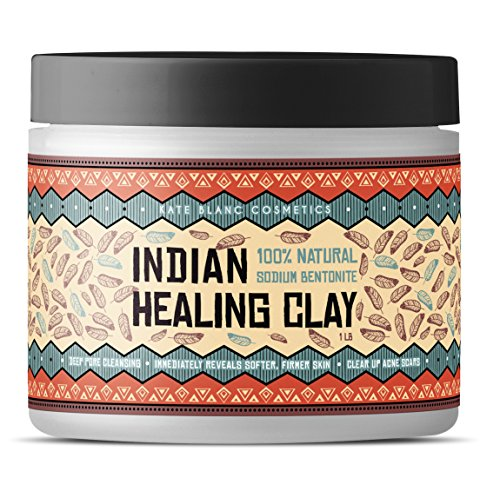 Indian Healing Clay (1 LB), 100% Natural Sodium Bentonite Clay Powder by Kate Blanc. Deep Pore Cleanser Facial Mask. Unclogged Pores. Detox & Rejuvenate Skin. Tighter, Smoother, Softer Skin.