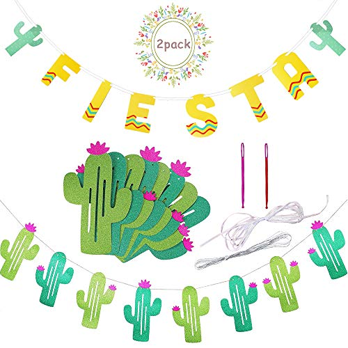 Fiesta Cactus Banner Garland Background String Cactus Party Decorations for Birthday Tropical Wedding Mexican Taco Cinco De Mayo Party]()