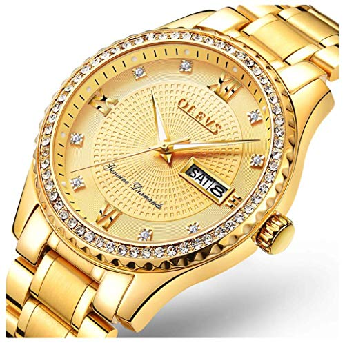 Luxury Watch Brands Quartz Watch Men's Stainless Steel Waterproof Date Watch Classic Fashion Gold Watch (Gold)