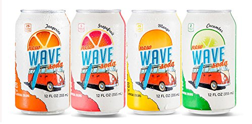 Wave Soda Sparkling Juice, 4 Flavor Variety Pack, Pack of 24, 12 Ounce Cans; 6 Mango, 6 Tangerine, 6 Cucumber and 6 Grapefruit