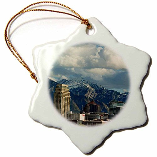 3dRose Salt Lake City with Wasatch Front, Utah, USA - US45 HGA0460 - Howie Garber - Snowflake Ornament, Porcelain, 3-inch ()