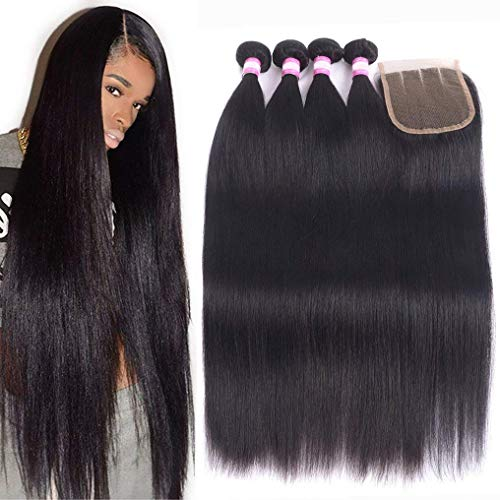 Brazilian Human Hair Bundles With Closure 8A Brazilian Straight Hair 4 Bundles With 4X4 Closure Grace Length Mink Brazilian Hair With Lace Closure(24 26 28 30+Closure 20,Three Part) -