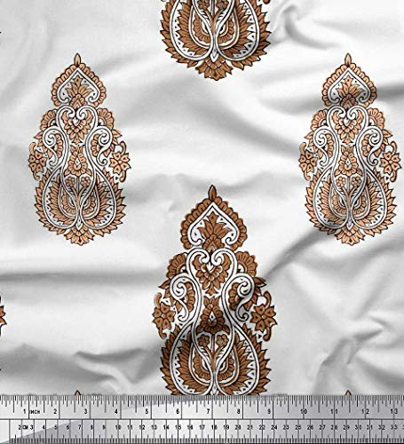 Soimoi Brown Cotton Cambric Fabric Floral & Paisley Block Print Fabric by Yard 42 Inch Wide
