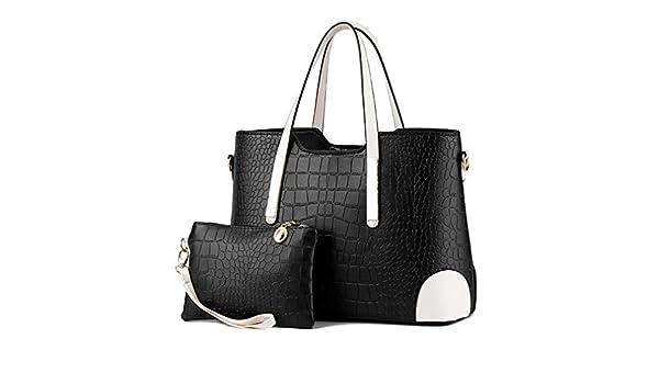 cb95177d60f Amazon.com: WEYIIRG Women Bag Vintage Messenger Bags Shoulder Handbag Women  Top-Handle Crocodile Pattern Composite Bag Purse Wallet Leather Black  Length ...