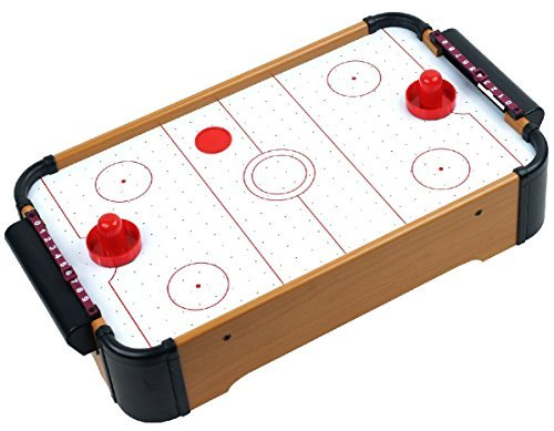 Wooden Mini Table Top Air Hockey Game Set 21'' - Battery Operated by Homeware