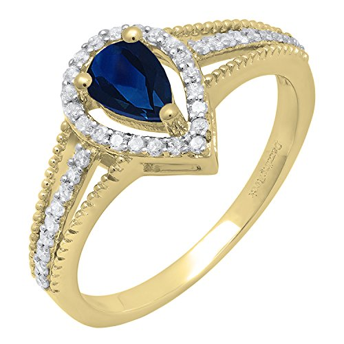 Dazzlingrock Collection 14K 6X4 MM Pear Lab Created Blue Sapphire & Round Diamond Bridal Halo Ring, Yellow Gold, Size 7