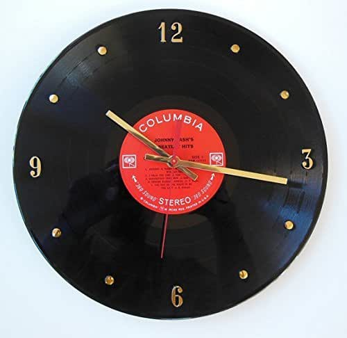 "Record Clock - Johnny Cash. Handmade 12"" wall clock made with an original Johnny Cash record."
