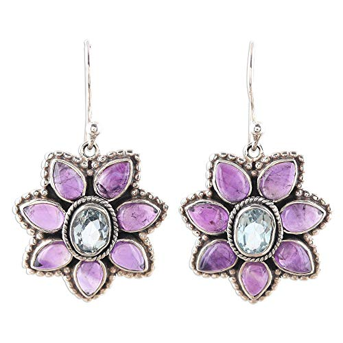 NOVICA Multi-Gem Amethyst .925 Sterling Silver Dangle Earrings, 'Chrysanthemum Blossoms'