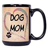 Best The Grandparent Gift Aunt Mugs - Dog Mom Heart Pawmarks on Black 15 ounce Review