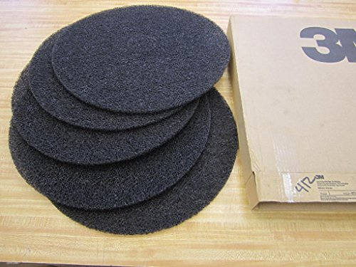 3M Low Speed High Productivity Black Floor Stripping Pad 7300 - Round, 20 inch Diameter, 0.5 inch Thick, Nylon, Perforated Center Hole, Removes Old Floor Finish - 5 per ()