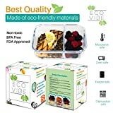[Large Premium 3 Pack] 2 Compartment Glass Meal Prep Containers w/ New Divider Seal Tech Best Quality Snap Locking Lids Airtight, Glassware Set, Bento Box, BPA-Free (5 Cups, 40oz Dry W/Lid on)