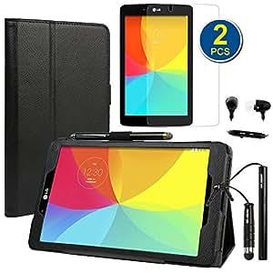 BIRUGEAR Combinación Negro de Accesorios Esenciales para LG G Pad 8.0: Funda de PU Cuero Sintético con Sorporte Integrado + 2x Protectores de Pantalla Transparente + 2x Lápiz Ópticos con Adaptador de 3.5mm ( Mini /Clip ) + Audífono Auriculares con Micrófono y Adaptador de 3.5mm