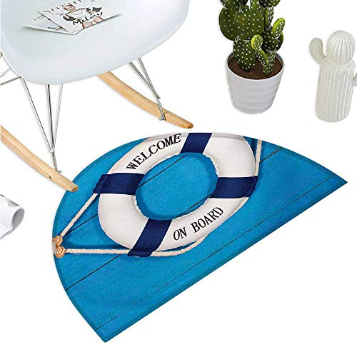 Buoy Half Round Door mats Welcome on Board Sign on Painted Timber Wall Life Buoy Tightened with Rope Bathroom Mat H 39.3